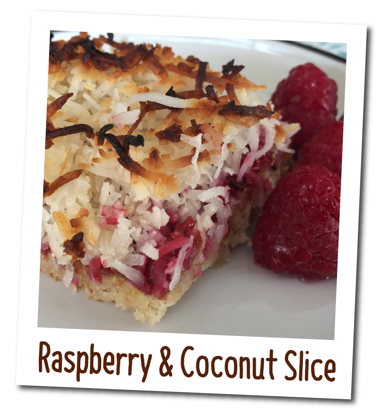 Eat Well Cookbook -Raspberry & Coconut Slice